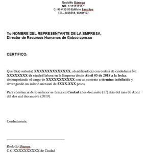 modelo carta certificado